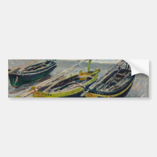 Three Fishing Boats by Claude Monet Car Bumper Sticker