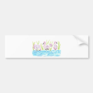 Three Flamingos Bumper Sticker