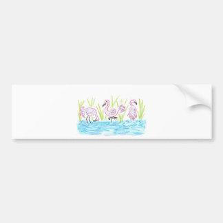 Three Flamingos Bumper Sticker