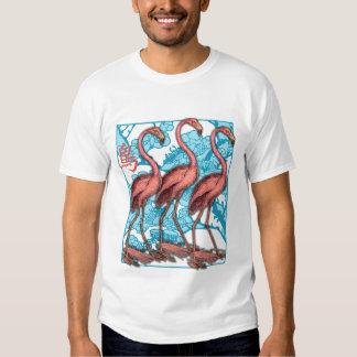 Three Flamingos with Flowers T Shirt