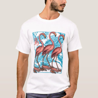 Three Flamingos with Flowers T-Shirt