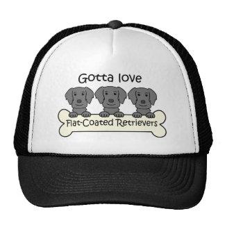 Three Flat-Coated Retrievers Cap
