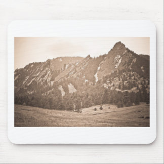 Three Flatirons Boulder Colorado Back In The Day Mouse Pad