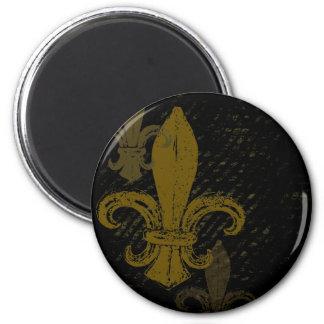 Three Fleur De Lis 6 Cm Round Magnet