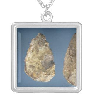 Three flint tools square pendant necklace