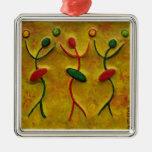 Three Flirts African Art_ Holiday Metal Ornaments