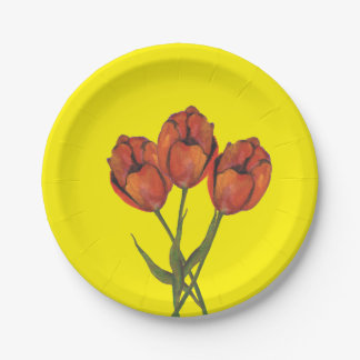 THREE FLOWERS PAPER PLATE