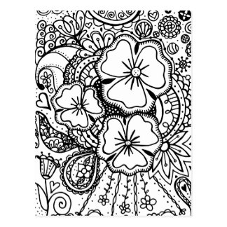 Three Flowers Zendoodle 062514, Postcard