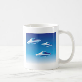 Three Flying Unidentified Objects in the sky Basic White Mug