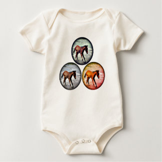 Three Foals in the Sea, playful baby clothes Baby Bodysuit