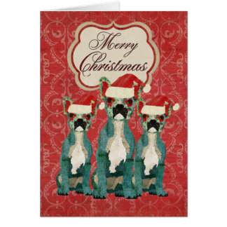 Three French Bulldogs Christmas Card