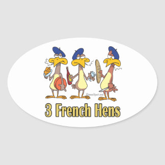three french hens 3rd third day of christmas sticker