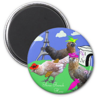 Three French Hens 6 Cm Round Magnet