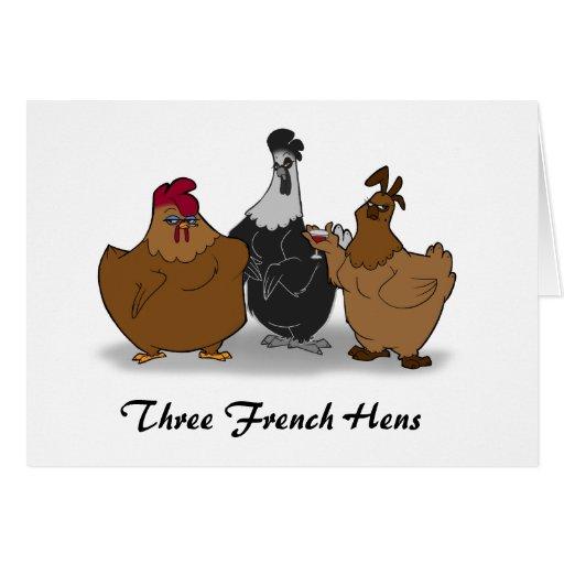Three French Hens Christmas Card | Zazzle: www.zazzle.co.uk/three_french_hens_christmas_card-137151678499708955