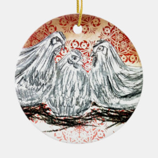 Three French Hens Round Ceramic Decoration