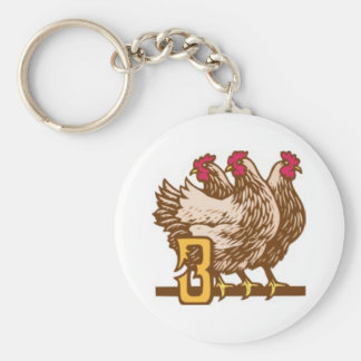 Three French Hens Key Ring