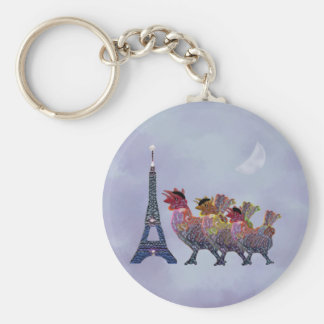 Three French Hens Keychains