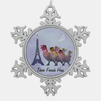 Three French Hens Snowflake Ornament