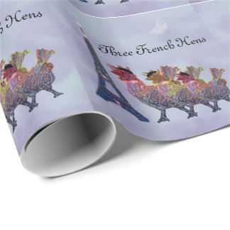 Three French Hens Wrapping Paper