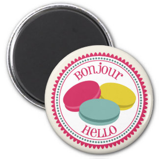 Three French Macarons Bonjour Hello Magnet