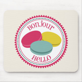 Three French Macarons Bonjour Hello Mouse Pad
