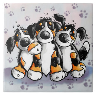 Three Funny Bernese Mountain Dogs Cartoon Large Square Tile