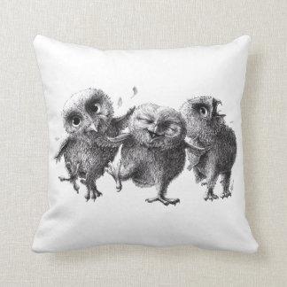 Three Funny Crazy Owls Cushion
