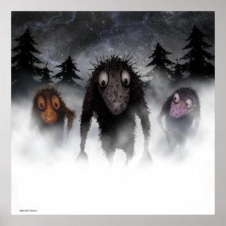 Three funny monster trolls poster