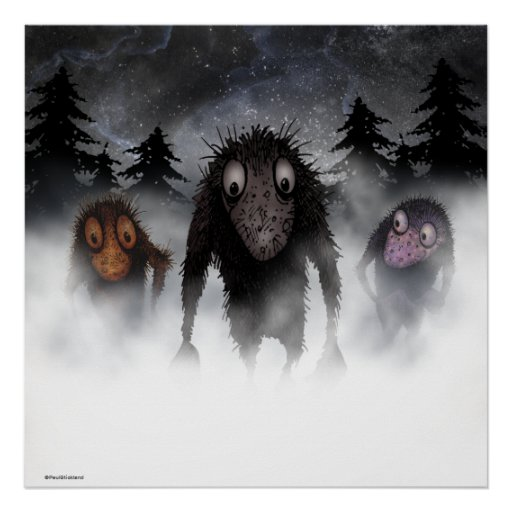 Three funny monster trolls posters