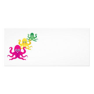 Three funny octopies customized rack card