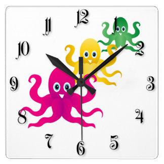 Three funny octopies square wall clock