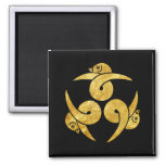 Three Geese Japanese Kamon gold on black Square Magnet