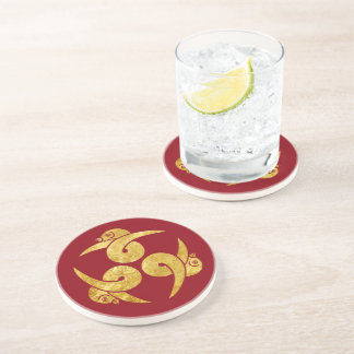 Three Geese Japanese Kamon in faux gold red Coaster