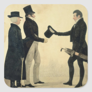 Three Gentlemen Greeting Each Other w c and ink w Stickers