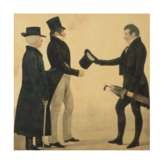 Three Gentlemen Greeting Each Other (w/c and ink w Wood Canvas