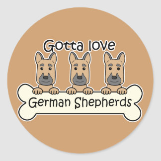 Three German Shepherds Classic Round Sticker
