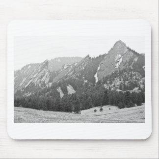 Three Giant Flatirons View Boulder Colorado BW Mouse Pad
