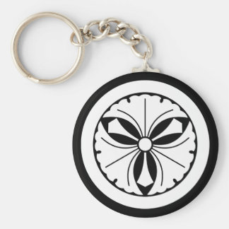 Three ginkgo leaves with swords in circle basic round button key ring