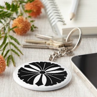Three ginkgo leaves with swords key ring