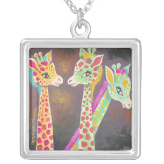 Three Giraffes Silver Plated Necklace
