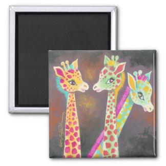 Three Giraffes Square Magnet