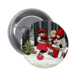 Three Girls and a Christmas Tree in the Forest Button