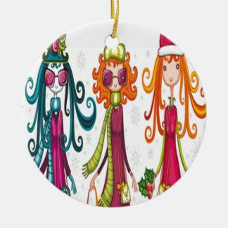 Three girls design christmas ornament