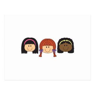 THREE GIRLS FACES POSTCARD