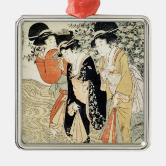 Three girls paddling in a river, from the 'Fashion Christmas Ornament