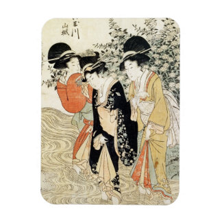 Three girls paddling in a river, from the 'Fashion Rectangular Photo Magnet