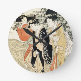 Three girls paddling in a river, from the 'Fashion Round Clock