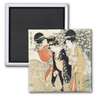 Three girls paddling in a river, from the 'Fashion Square Magnet