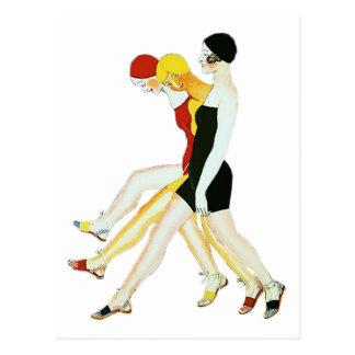 Three Girls Walking - 1920s Illustration Post Card
