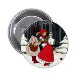 Three Girls with Mistletoe Vintage Christmas 6 Cm Round Badge